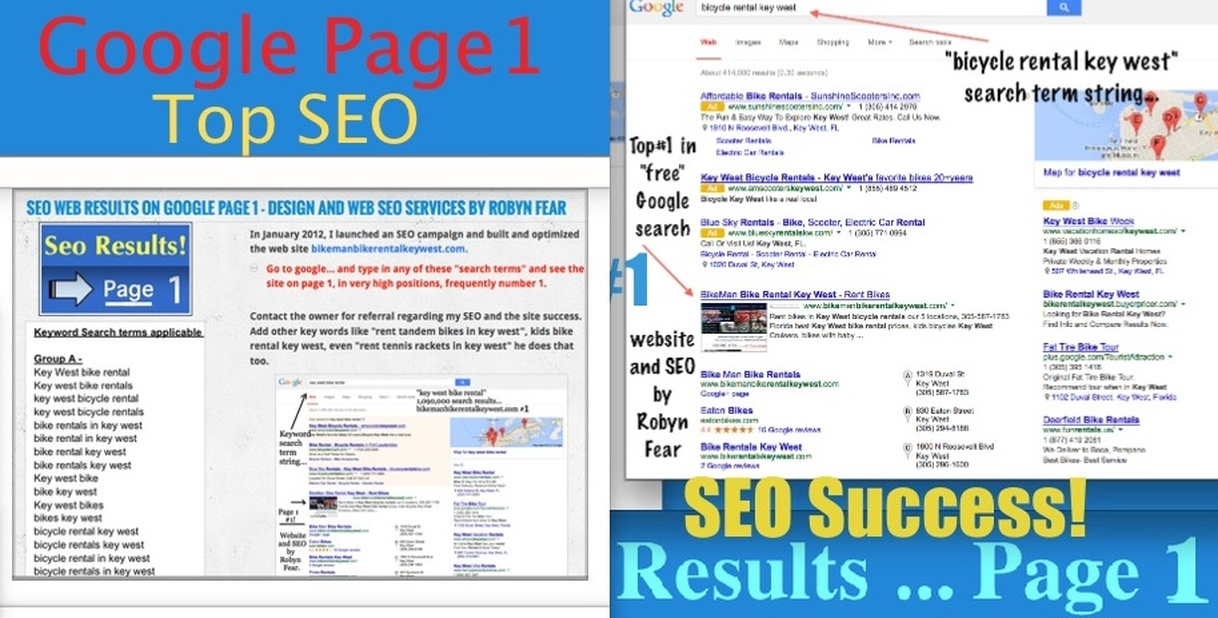 Google page 1 seo results